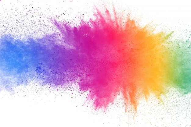 Eksplozja kolorowy proszek na białym tle