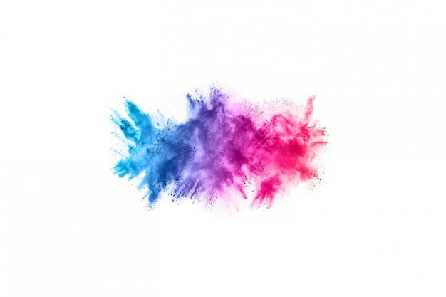 Eksplozja kolorowy proszek na białym tle.