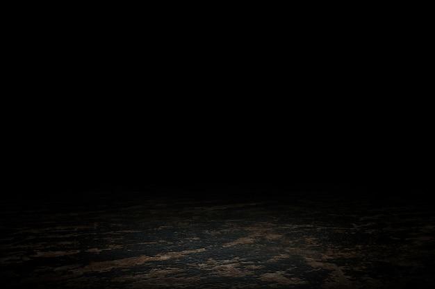 Ekspozytor z czarnego marmuru. scena pustej podłogi do pokazania. renderowanie 3d.