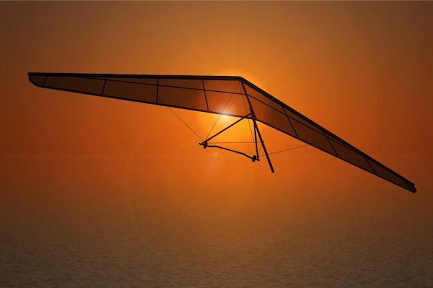 Ekstremalne loty na lotni z bliska o zachodzie słońca