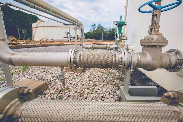 Elastyczny zbiornik z zaworem kołnierzowym ze stali nierdzewnej zainstalowany z elastycznymi wężami do zmniejszania siły między zbiornikami magazynowymi oleju ciśnienie wejściowe i wyjściowe.