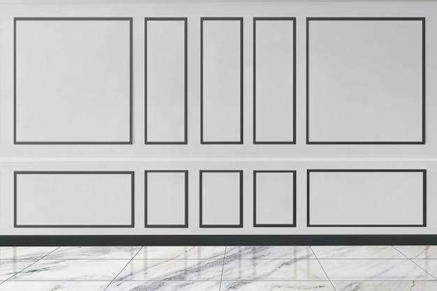 Elegancka biała wzorzysta makieta ścienna z marmurową podłogą