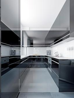 Elegancka czarna kuchnia z białym wystrojem. renderowania 3d