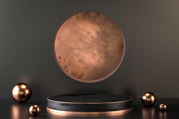 Elegancka i abstrakcyjna pustka najwyższej jakości podium w czerni i złocie