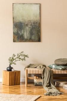 Elegancka kompozycja salonu z dekoracją wnętrza