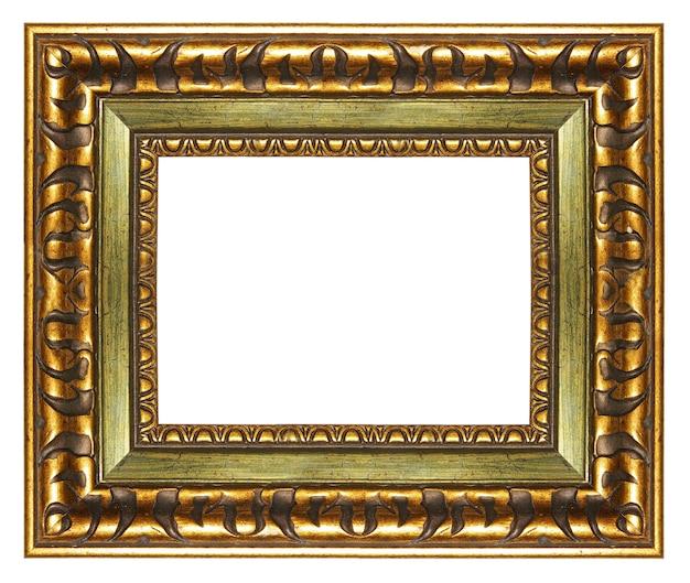 Elegancka pusta rama ze złotymi granicami na białym tle