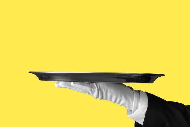 Elegancka ręka kelnera w białej rękawiczce, trzymając pusty talerz z pustym tłem gradientowym.