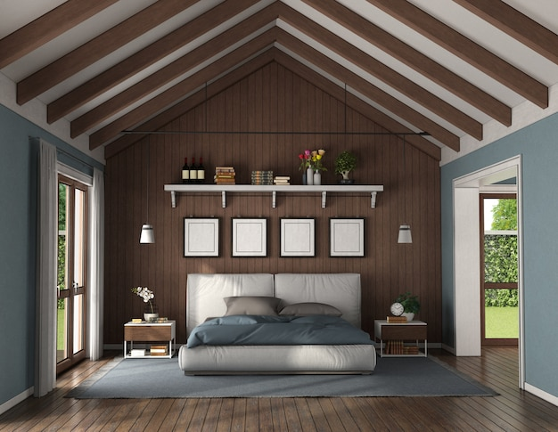 Elegancka sypialnia z drewnianą ścianą za nowoczesnym podwójnym łóżkiem i szafką nocną - renderowanie 3d