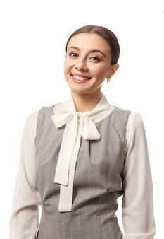 Elegancki bizneswoman na białym tle