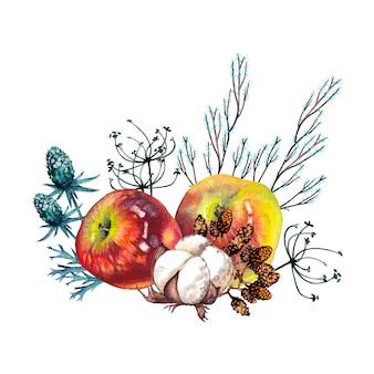 Elegancki bukiet botaniczny dojrzałych jabłek