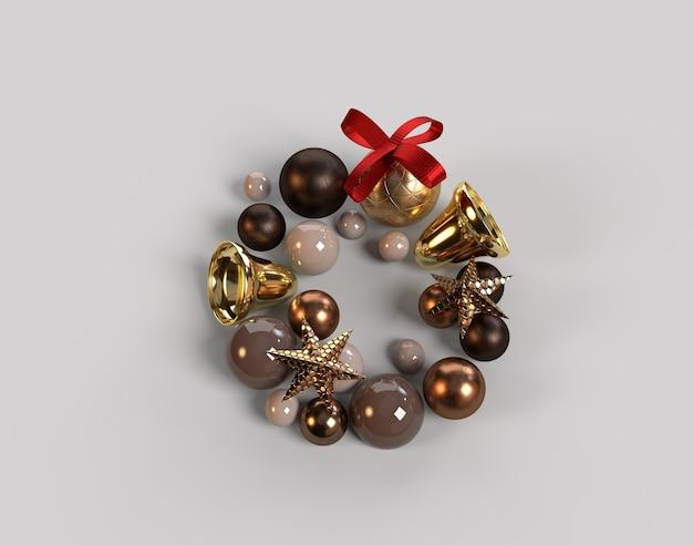 Elegancki i nowoczesny wieniec bożonarodzeniowy z bombkami o okrągłych kształtach