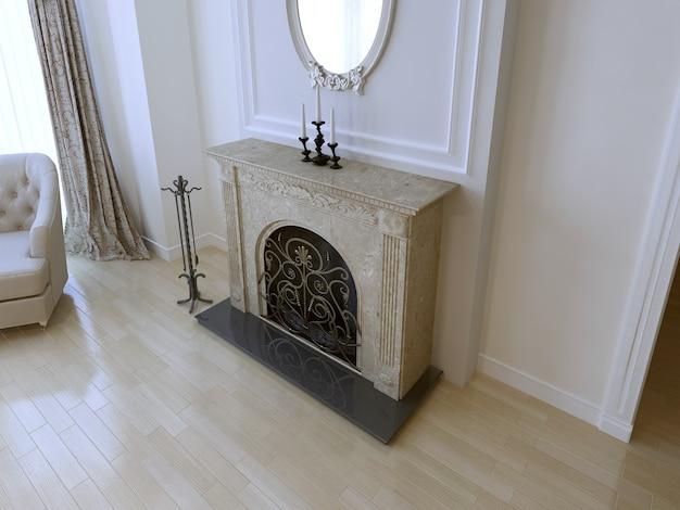 Elegancki kominek w luksusowym domu przy białej ścianie z listwami