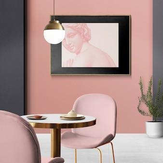Elegancki, luksusowy autentyczny wystrój wnętrz jadalni z ramą na zdjęcia