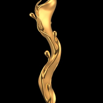 Elegancki, luksusowy plusk złotej cieczy. ilustracja, renderowanie 3d.