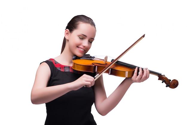 Elegancki młody skrzypcowy gracz odizolowywający na bielu