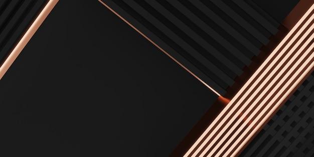 Elegancki obraz tła z czarnymi i różowymi złotymi sztabkami błyszczącymi ilustracjami 3d