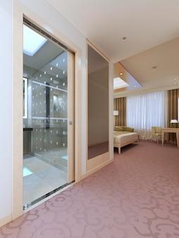Elegancki projekt apartamentu hotelowego. jasne kolory we wnętrzu. renderowania 3d