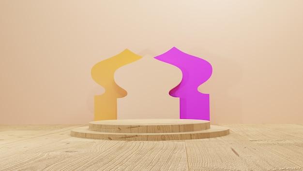Elegancki ramadan kareem z islamskim podium z drewnianymi podłogami projekt karty z pozdrowieniami renderowania 3d tła