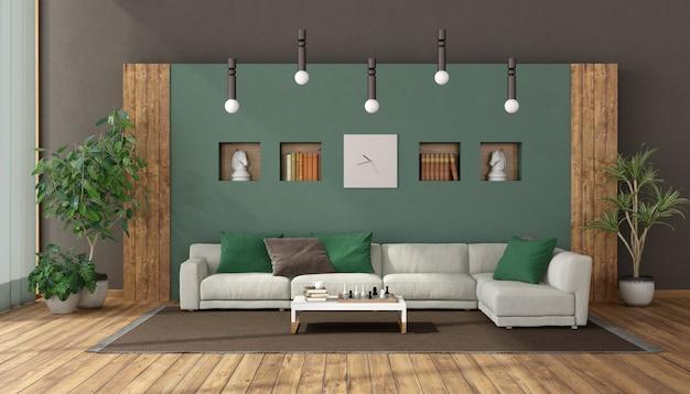 Elegancki salon z białą sofą na zielonej ścianie