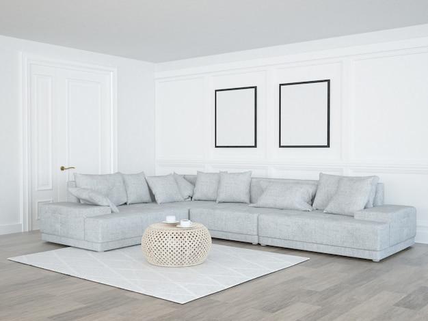 Elegancki salon z sofą i szablonem plakatu na ścianach