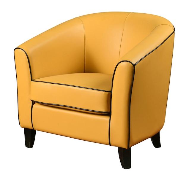 Elegancki skórzany fotel w kolorze żółtym