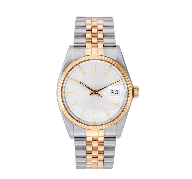 Elegancki zegarek na srebrno-złotym łańcuszku na białym tle
