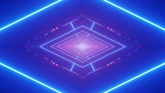 Eleganckie abstrakcyjne tło ilustracji 3d z geometrycznym symetrycznym rombem utworzonym ze świecących linii neonowych i błysków na świetlistym niebieskim tle