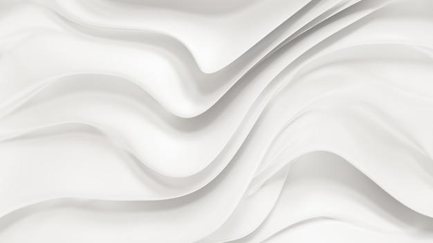 Eleganckie białe tło z płynącymi falami tkaniny. renderowanie 3d.