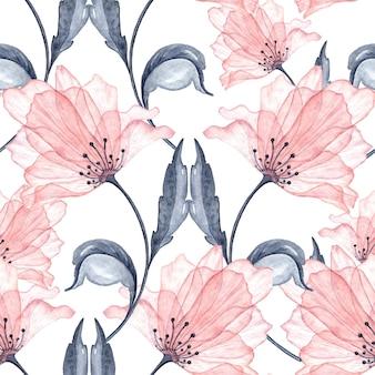 Eleganckie przezroczyste kwiaty akwarela wzór