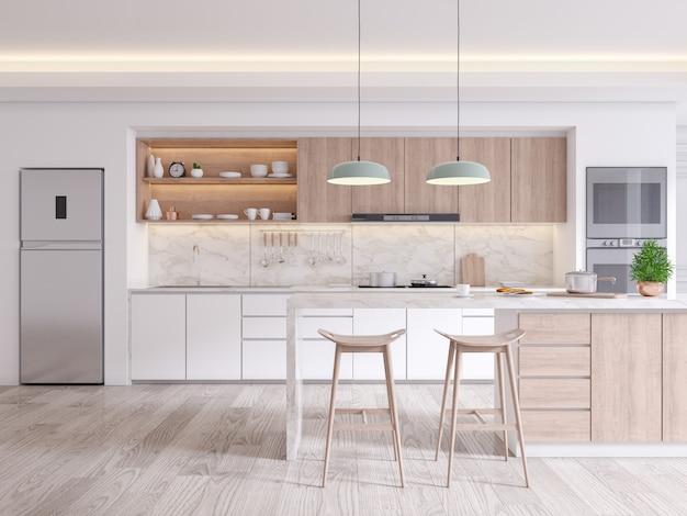 Eleganckie współczesne wnętrze pokoju kuchennego