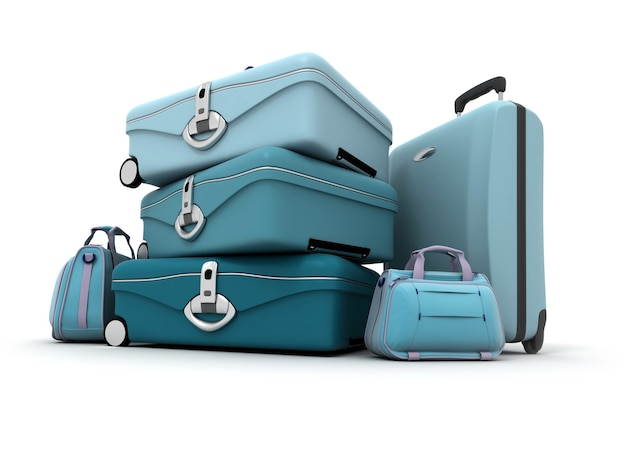 Elegancko wyglądający bagaż w różnych odcieniach błękitu