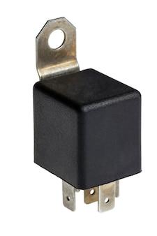 Elektroniczna kolekcja - samochodowy przełącznik elektromagnetyczny przekaźnika na białym tle