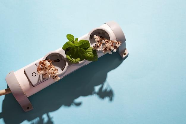 Elektroniczna wtyczka kablowa z zieloną miętą i kwiatami na niebiesko