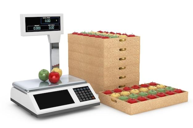 Elektroniczne wagi do ważenia żywności z jabłkami pudełka na białym tle. renderowanie 3d