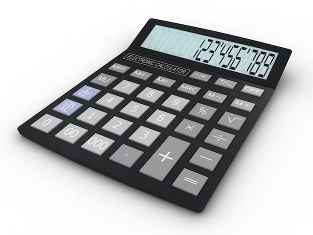 Elektroniczny kalkulator 3d na białym tle