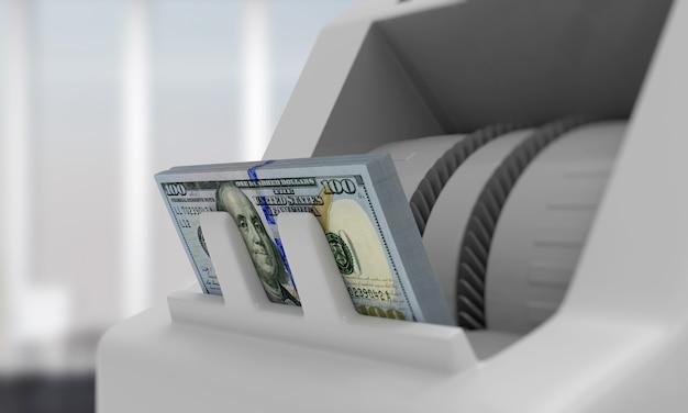 Elektroniczny licznik pieniędzy z banknotami dolarowymi