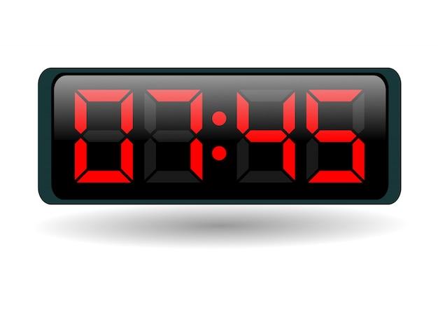 Elektroniczny zegar z czerwonymi liczbami na bielu
