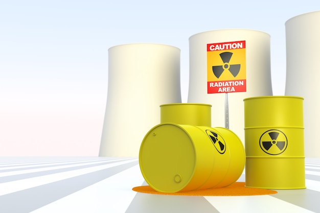 Elektrownia jądrowa ze znakiem radioaktywności. renderowanie trójwymiarowe.