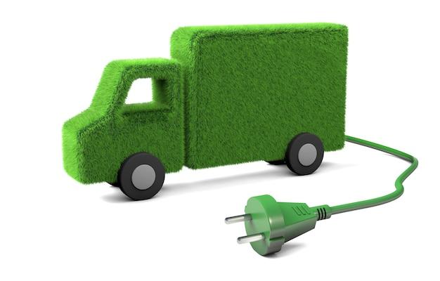 Elektryczna ciężarówka trawa z przewodem i wtyczką z gniazdka na białym tle