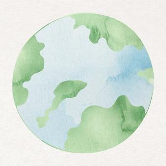 Element projektu akwarela zielony glob