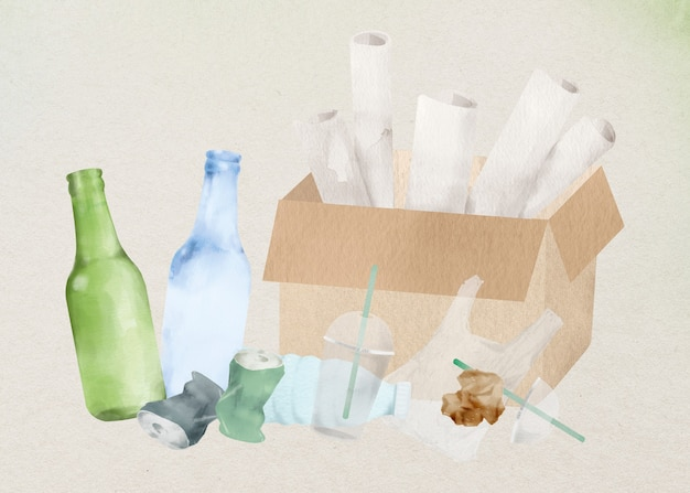 Element projektu papieru z tworzywa sztucznego na śmieci