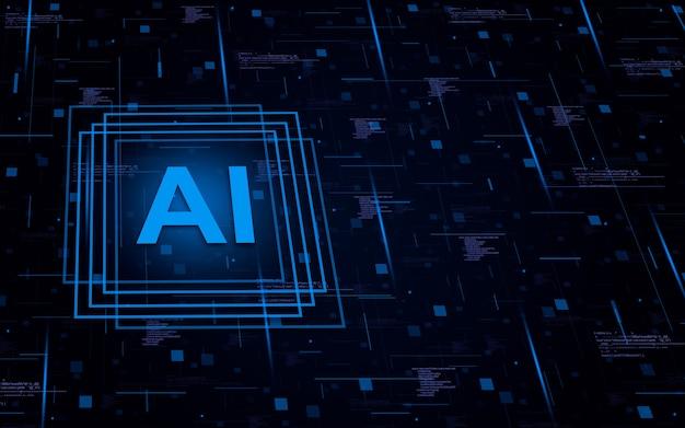 Element sztucznej inteligencji na tle technologicznym z elementami kodu, koncepcja ai