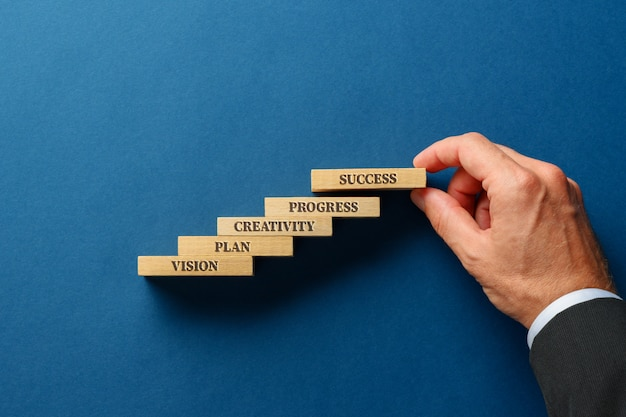 Elementarne słowa prowadzące do sukcesu w życiu i biznesie, napisane na drewnianych kołkach