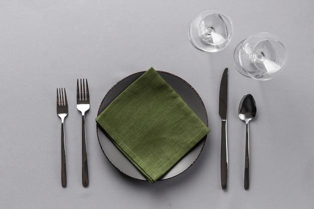Elementy etykiety stołu z widokiem z góry