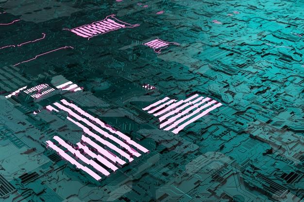 Elementy neonglow na tle układu płyty głównej z futurystyczną płytką drukowaną