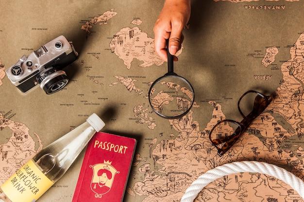 Elementy podróży na mapie