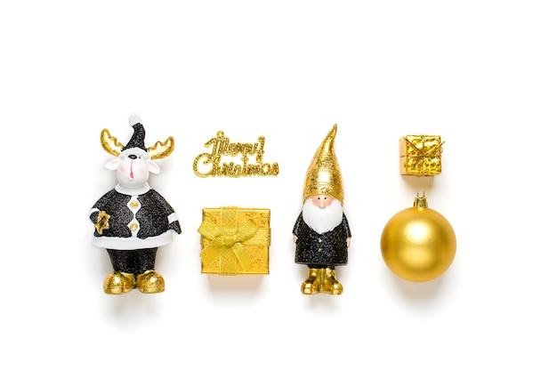 Elf, jeleń, cacko, pudełko ozdobione złotym blaskiem w kolorze czarnym, złotym na białym tle. szczęśliwego nowego roku, koncepcja wesołych świąt