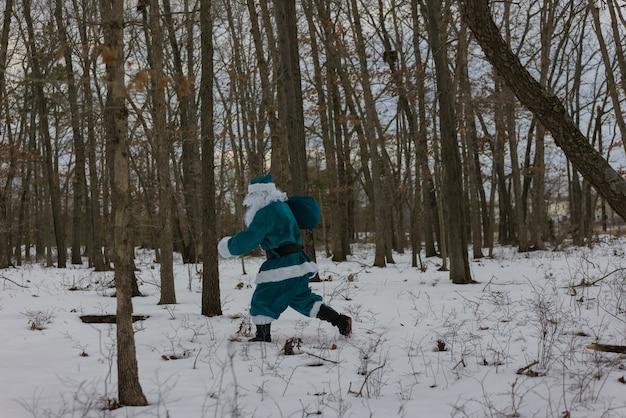Elfka w zielonym garniturze przynosi prezenty noworoczne spacerując po zimowym lesie