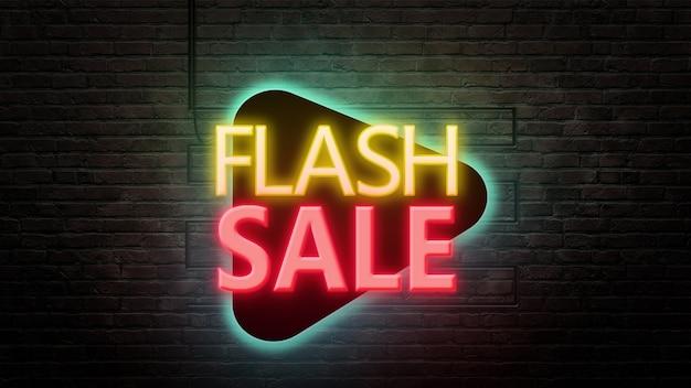 Emblemat znak sprzedaży flash w stylu neonowym na tle ściany z cegły