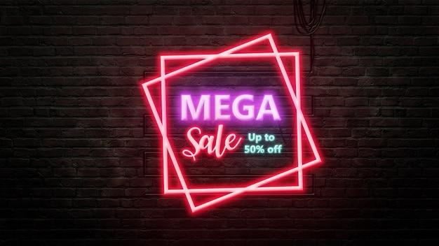 Emblemat znak sprzedaży mega w stylu neonowym na tle ściany z cegły
